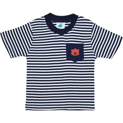 Auburn Toddler Striped Pocket Short Sleeve Tee