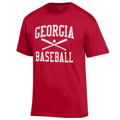 Georgia Champion Men's Basic Baseball Tee Shirt RED