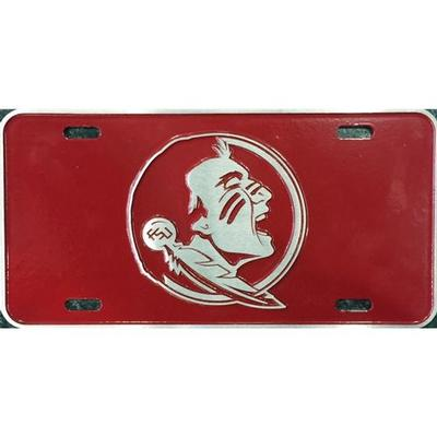 Florida State Pewter License Plate - Seminole Logo
