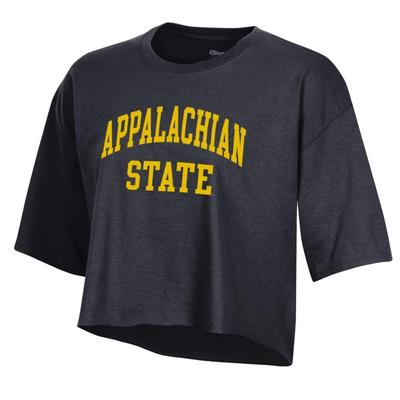 Appalachian State Champion Boyfriend Arched App State Cropped Tee BLACK