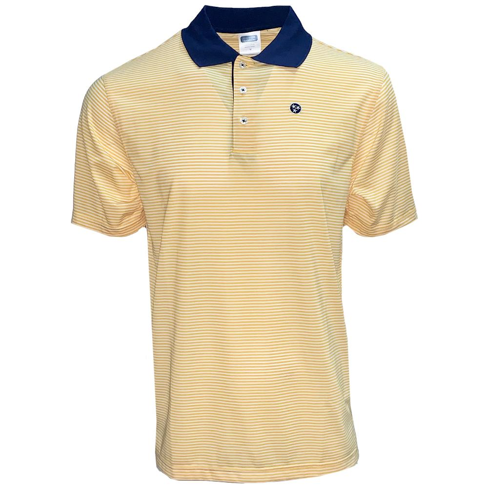 Volunteer Traditions Navy And Gold Tristar Striped Polo