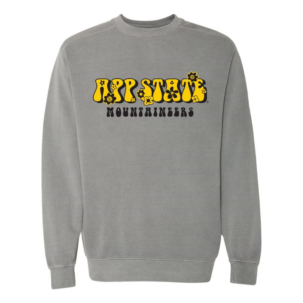 Appalachian State Summit Retro Flowers Comfort Colors Crew
