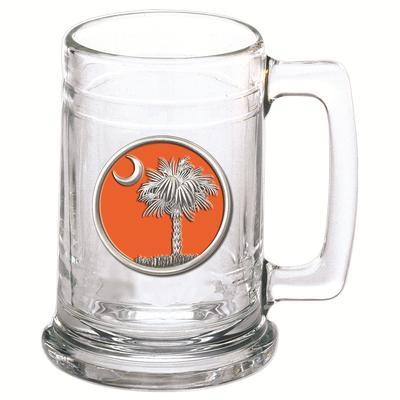 Heritage Pewter Orange Palmetto Emblem Stern Glass