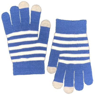 Blue & White Gameday Striped Gloves