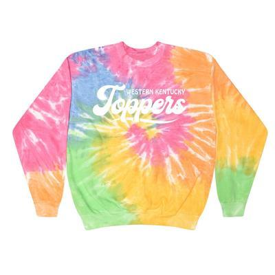 Western Kentucky Summit Spiral Tie Dye BF Retro Script Sweatshirt