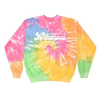 Arkansas Summit Spiral Tie Dye BF Retro Script Sweatshirt