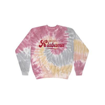 Alabama Summit Spiral Tie Dye BF Retro Script Sweatshirt