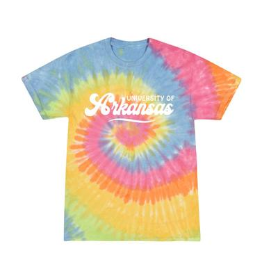 Arkansas Summit Spiral Tie Dye Retro Script Short Sleeve Tee