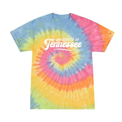 Tennessee Summit Spiral Tie Dye Retro Script Short Sleeve Tee