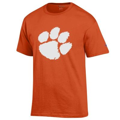 Clemson Champion Men's Giant Distressed Paw Logo Tee