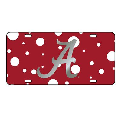 Alabama License Plate Crimson/Silver Script A with Dots
