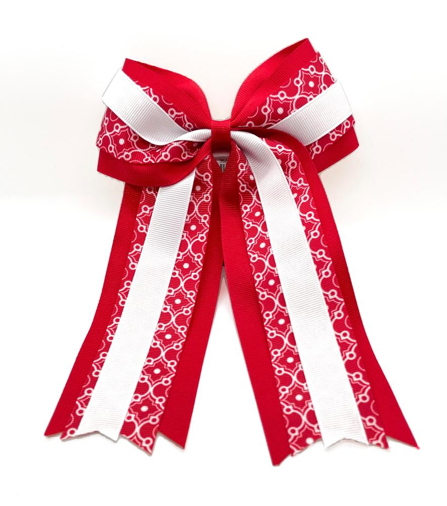 Red & White Moroccan Ponytail Hair Bow