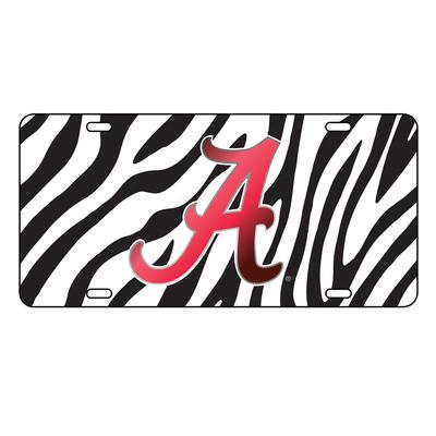 Alabama License Plate Zebra Print Script A