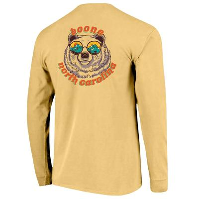 Boone Retro Bear with Glasses Long Sleeve Comfort Colors Tee