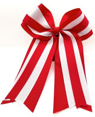 Red & White Layered 2 Tone Ponytail Bow