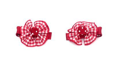Red & White Plaid Hair Bow Pair
