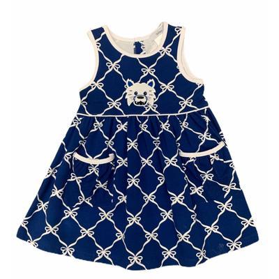 Ishtex Toddler Royal and White Bow Print Tank Dress