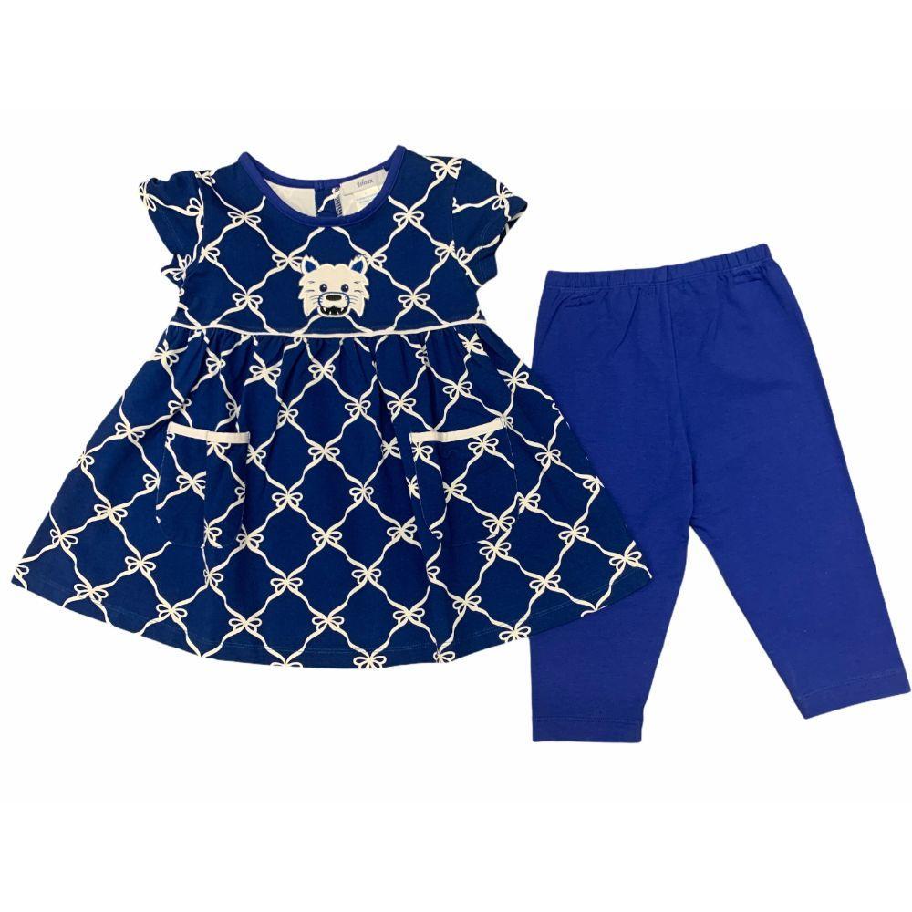 Ishtex Girls Royal And Grey Short Sleeve Capri Pant Set