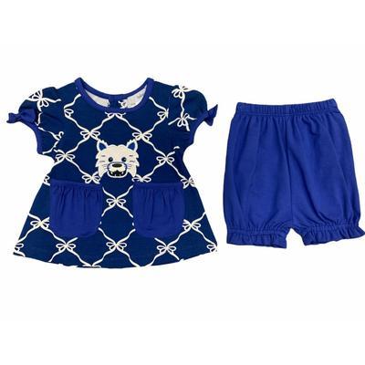 Ishtex Infant Royal and Grey Short Sleeve Bloomer Set