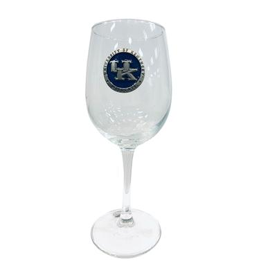 Kentucky Heritage Pewter UK Blue Emblem Wine Glass