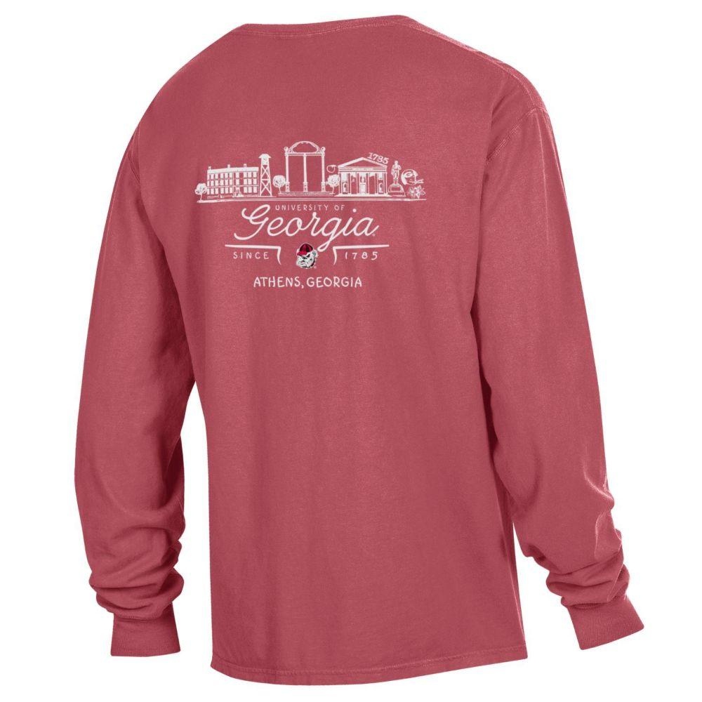 Georgia Campus Scene Long Sleeve Comfort Colors Pocket Tee