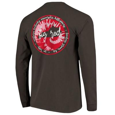 Western Kentucky Circle Tie Dye State Women's Comfort Colors Long Sleeve Tee