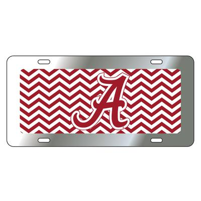 Alabama License Plate Crimson/White Chevron with Script A
