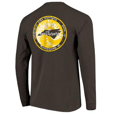 Appalachian State Circle Tie Dye State Women's Comfort Colors Long Sleeve Tee