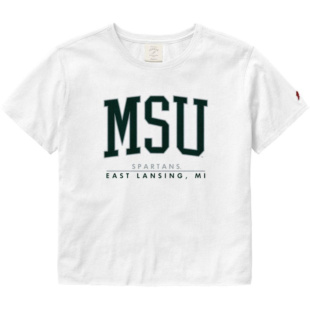 Michigan State League Women's Clothesline Crop Tee