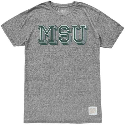 Michigan State Retro Brand Block MSU Mock Twist Tee