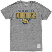 West Virginia Retro Brand Straight Mock Twist Tee