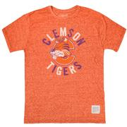 Clemson Retro Brand Tiger With C Streaky Tee