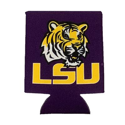 LSU Primary Logo with Tiger Eye 12 oz Can Cooler