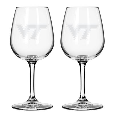 Virginia Tech 12 oz Frost Wine Glass
