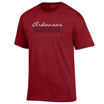 Arkansas Champion Women's Script Bar Mascot Tee