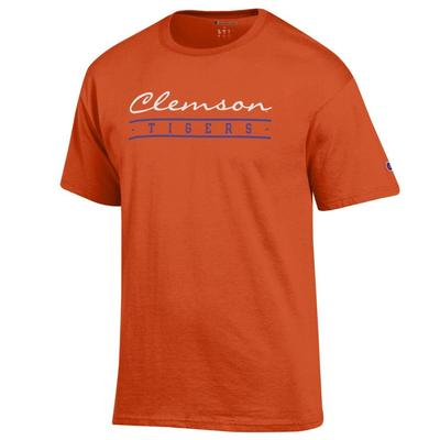 Clemson Champion Women's Script Bar Mascot Tee