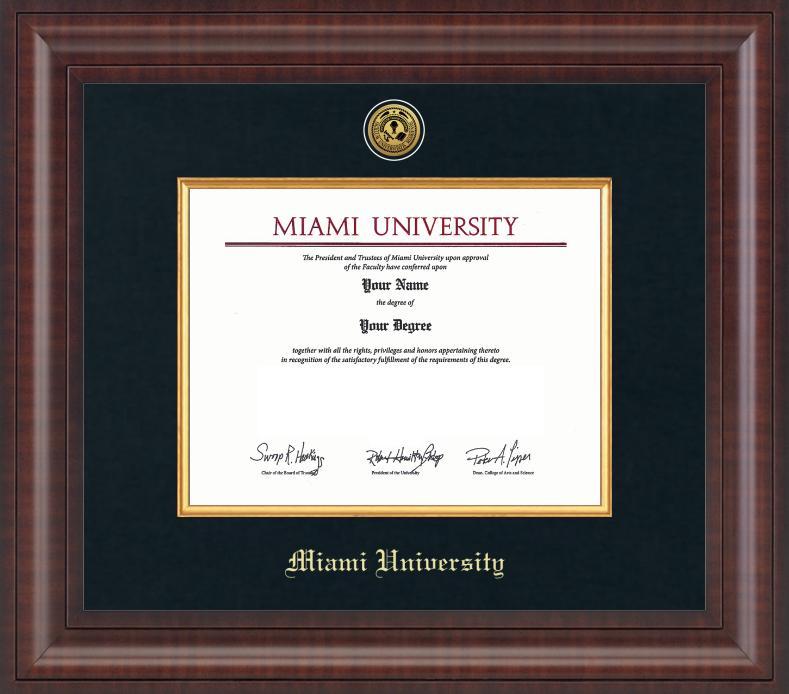 Miami Premier Diploma Frame With Medallion