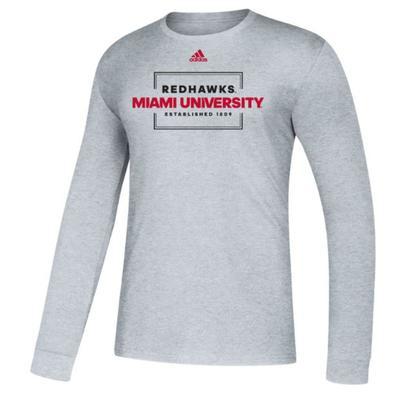 Miami Adidas Red Hawks Long Sleeve Tee