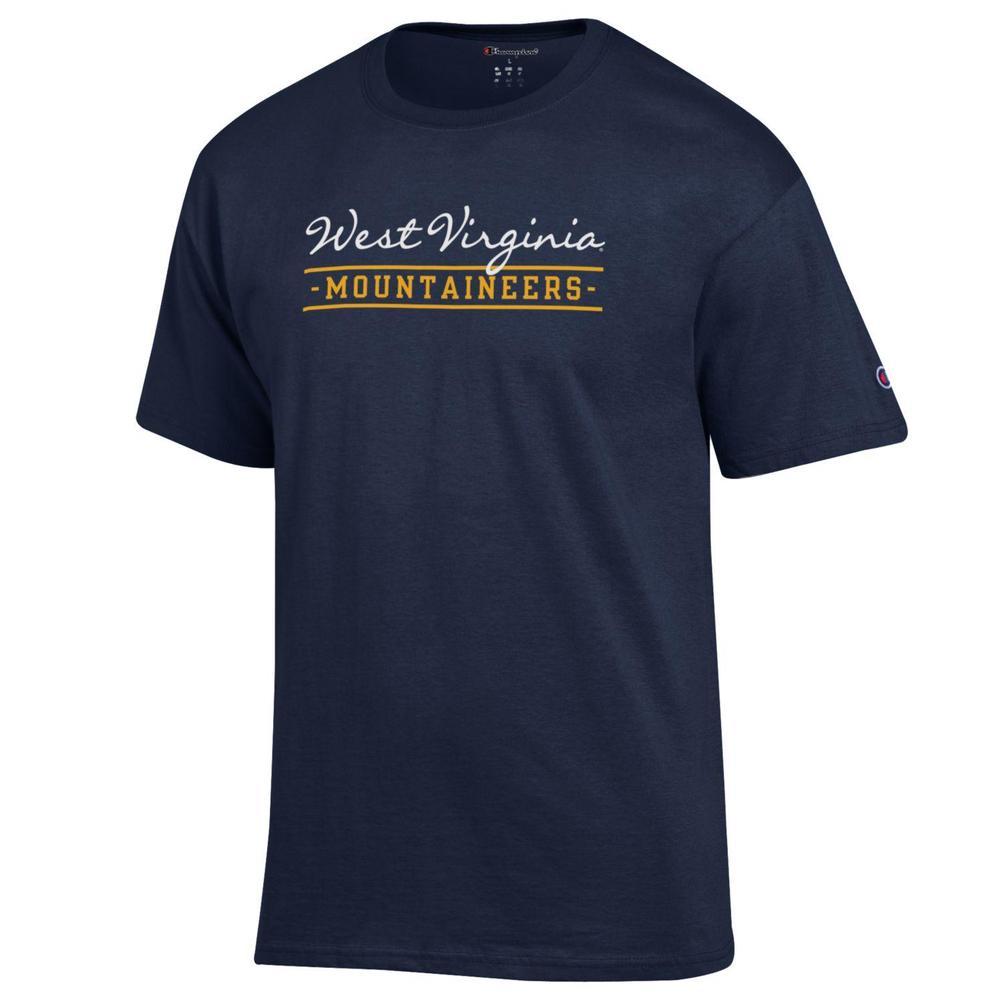 West Virginia Champion Women's Script Bar Mascot Tee
