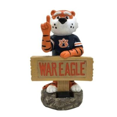 Auburn Solar Resin Statue with Sign