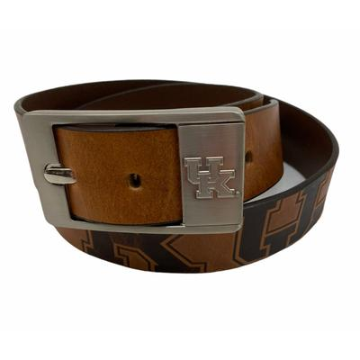 Kentucky Eagles Wings Brandish Leather Belt