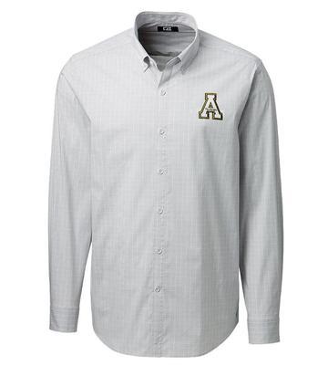 Appalachian State Cutter and Buck Men's Soar Windowpane Check Dress Shirt