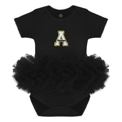 Appalachian State Infant Creative Knitwear A Logo Solid Tutu Bodysuit