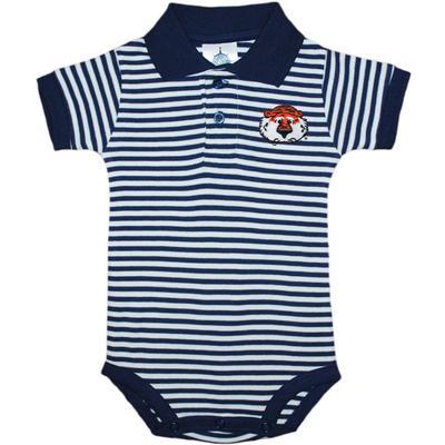 Auburn Infant Creative Knitwear Aubie StripedShort Sleeve Polo Bodysuit