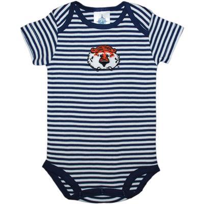 Auburn Infant Creative Knitwear Aubie Striped Short Sleeve Bodysuit