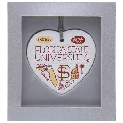 Florida State Julia Gash Ceramic Heart Ornament