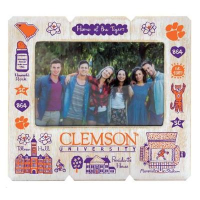 Clemson Tigers Julia Gash 4 X 6 Distressed Frame