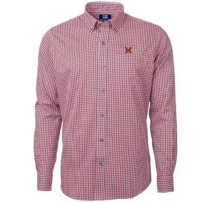 Miami Cutter and Buck Men's Versatech Multi Check Dress Shirt