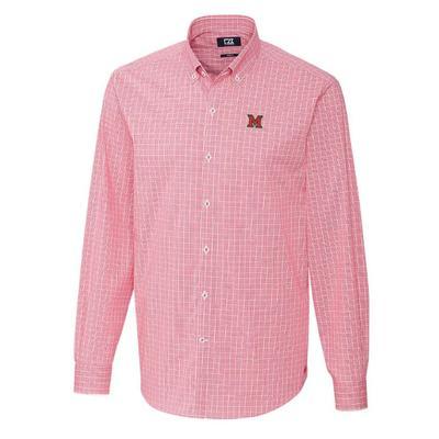 Miami Cutter and Buck Men's Soar Windowpane Check Dress Shirt