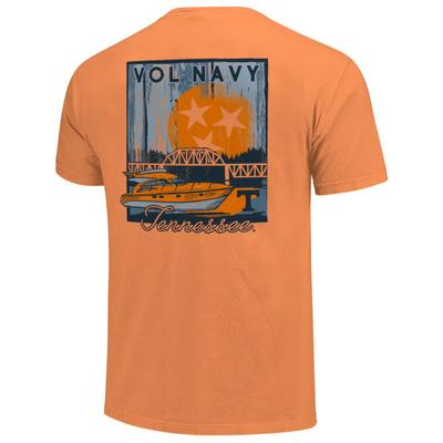 Tennessee Boat Scene Poster Short Sleeve Comfort Colors Tee